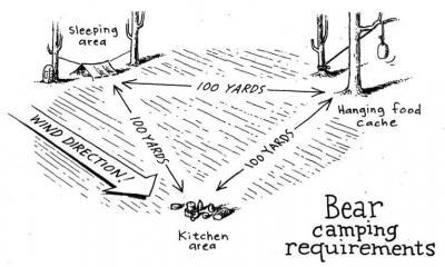 Bear camping requirements with distances